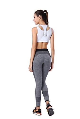 qutool Damen Sport Hose Yoga Leggings Strumpfhosen Workout Hose Running Hose grau - grau