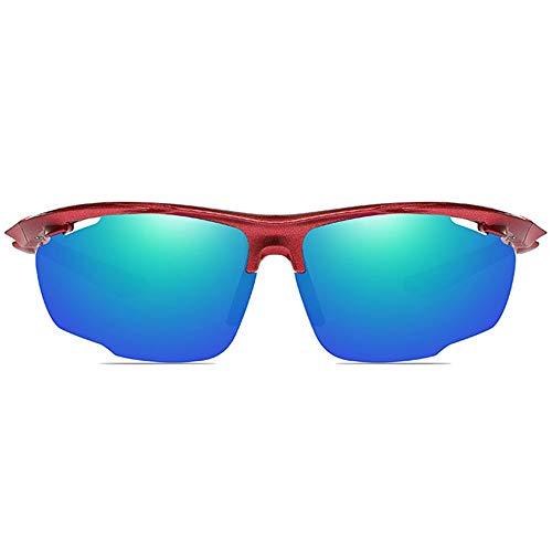WULE-Sunglasses Unisex Rot/Orange/Blau Männer und Frauen mit der gleichen polarisierten Reitbrille Outdoor-Sportarten Blendfreie Sonnenbrille aus PC-Material (Farbe : Red)