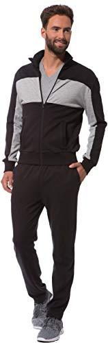 Morgenstern Hausanzug Herren aus Baumwolle Trainings Anzug Set mit Jogging Jacke Freizeit Hose zweiteilig Schwarz Fitnessanzug lang Grösse XL