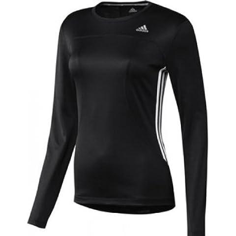 adidas, Maglietta a maniche lunghe Donna Response 3-Stripes Tee, Nero (Black/white), S