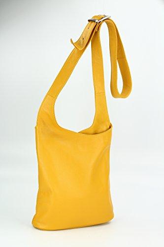 BELLI® ital. Schultertasche Cross Over Bag Nappa Leder Handtasche - Farbauswahl - 24x28x8 cm (B x H x T) Gelb