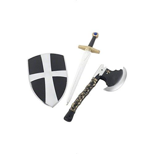 NET TOYS Schwert und Schild Kreuzritter weiß schwarz Set ab 3 Jahre Ritterrüstung Ritter Set Ritterschwert