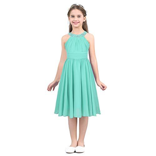 dPois Mädchen Chiffon Kleid Festlich Prinzessin Kleid Blumenmädchen Kleid Neckholder mit Strass...