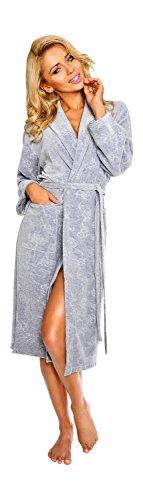 Luxus Frauen Kurz Baumwolle morgenmantel, Blumenmuster Bademantel Grau