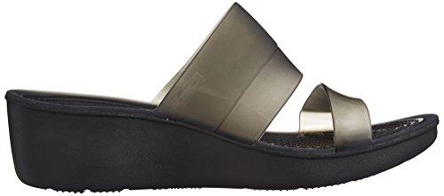 Crocs Colorblock Transl Mini Wedge W Sandales Avec Plate-forme Et Wedge, Femme Noir (noir / Noir)