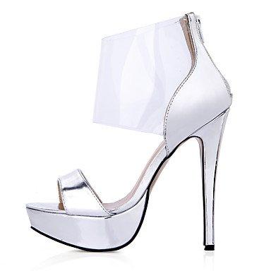 LvYuan Damen-Sandalen-Hochzeit Kleid Lässig Party & Festivität-PU-Stöckelabsatz-Komfort-Silber Mehrfarbig Silver