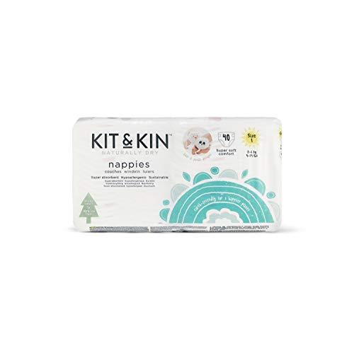 Kit & Kin Eco Windeln Größe 1 hypoallergen und nachhaltig (40 x 4 Packungen, 160 Windeln) Care Kit 1 Kit