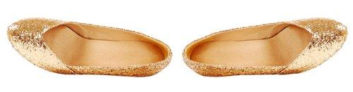 Honeystore Damen's Wedge Pailletten Stoff Absatzschuhe Gold