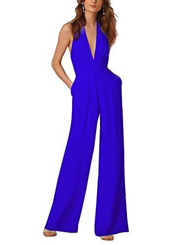 7de31f7d34c9 Lylafairy Blu Jumpsuit Tuta con Pantaloni Lungo Vestito Abito Cerimonia da  Donna Elegante Casual (XL