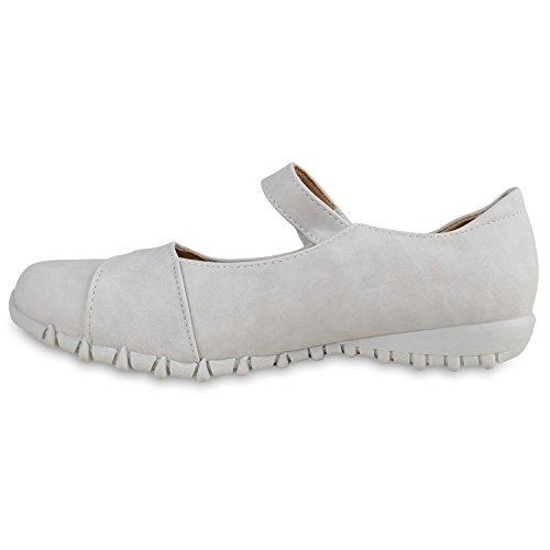 Damen Riemchenballerinas Flats Profilsohle Lederoptik Schuhe Grau Total