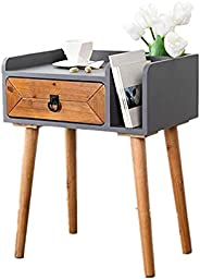 Coffee Table Wood Bedside Table Nightstand Storage Cabinet Small End Table Side Table with Drawer and Bookshel