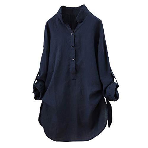 Kostüm Blau Cheerleader Marine - Yvelands Damen Baumwolle T-Shirt Solide Langarmhemd Lässige Lose Bluse Button Down Tops(Marine,L)
