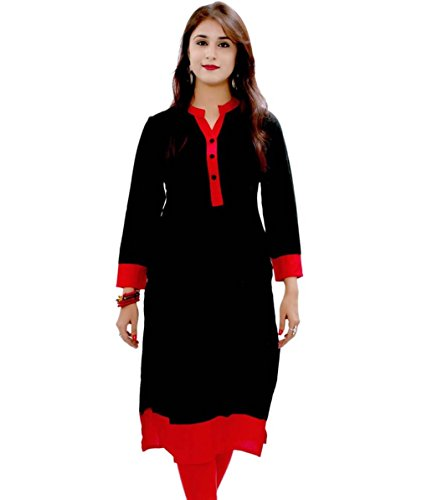 Fusion Multicolor Cap Half Long Short Sleeve Sleeveless Kurtis Kaftan for Girls (GT-KVR-BLR-XXL)