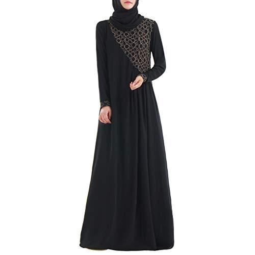 Arabische Geld Kostüm - MMOOVV Muslimische Frauen kleiden Kaftan islamischen Maxi-Kleid Langarm arabischen Kostüm Hochzeit Kleid Cocktail (Schwarz 2XL)