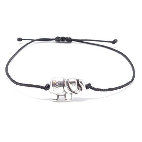 Pulsera de plata elefante en tela negra brazo–Visillo Elefantes Pulsera