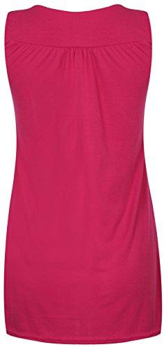 Camicia da donna senza maniche, scollatura rotonda elasticizzata, Dimensioni: grandi Cerise