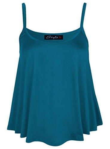 Damen Einfarbig Swing Leibchen Riemen Ausgestellt Weste Ärmelloses Top Übergröße Blaugrün