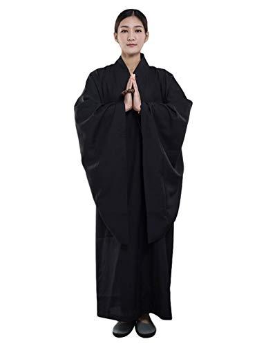 ZooBoo Mönch Buddhist Kostüm Robe - Chinesische Buddhistische Kleidung Kampfkunst Shaolin Wushu Kung Fu Langärmelige Uniform Unisex für Männer Frauen (Schwarz, Körpergröße 182cm)