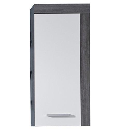 Trendteam MI50303 armario de pared para baño de melanina de colour blanco, negro y plata de salida de humos, tamaño de 36 x 79 x 23 cm