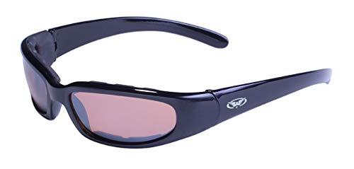 Global Vision Eyewear Sonnenbrille Chicago mit Rahmen schwarz glänzend und Fahren Spiegel Objektive