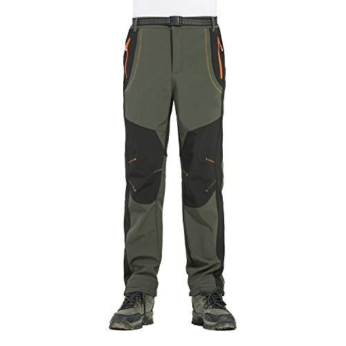 Sportswear Herren leichte atmungsaktiv schnell trocken Wandern Mountain Cargo Pants Hose Herren Outdoor Softshell Hose Polar Fleece transparent wasserdicht grün Tag 3XL (Fit Taille 36