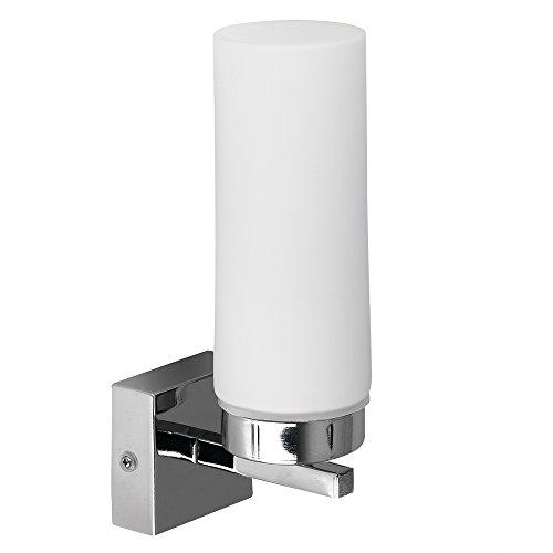 MiniSun - Moderno aplique de pared para baño en cristal blanco - IP44 protección contra el agua
