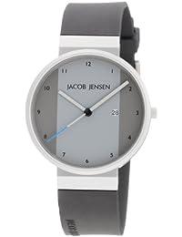 Jacob Jensen Watches New Series 731 - Reloj de caballero de cuarzo, correa de goma color negro
