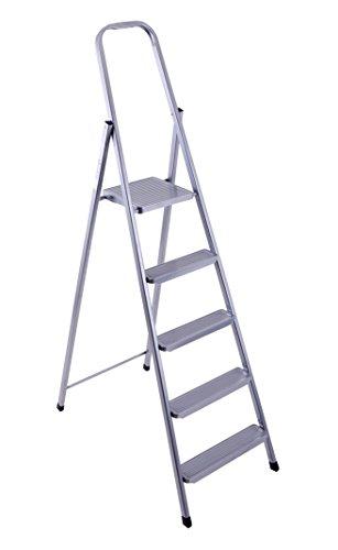 Original Eurogold Sicherheits Stahlleiter Leiter mit 5 Stufen - 150 kg Belastbarkeit - Profi Qualität Made in Europe