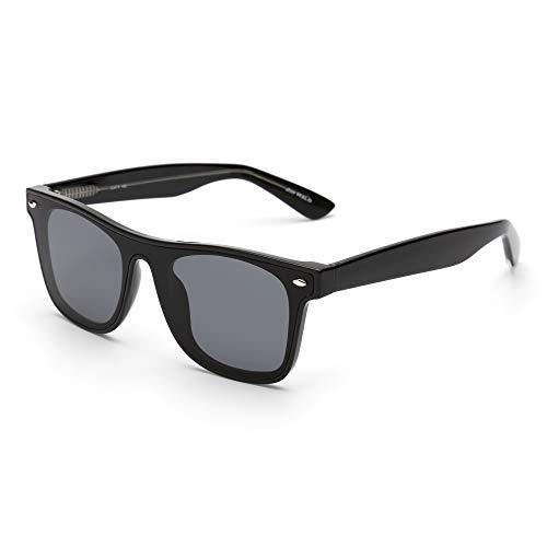 JIM HALO Vintage Platz Sonnenbrille für Damen Herren Ein Stück Gradient Linsen UV400(Schwarzer Rahmen/Gradient Graue Linse)
