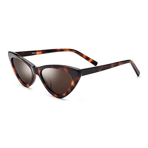 KJDFN Leopard Kleinen Rahmen Polarisierte Sonnenbrille Mode Dreieck Brille Weibliche Retro Teller Cat Eye Sonnenbrille Braunes Objektiv Uv400 Schutz Trend