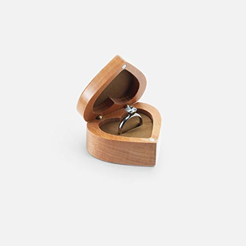 Ring Box Heiratsantrag Ehering Hochzeit Holz Schmuck Aufbewahrungsbox Klein Retro Tragbar Tragbar (Color : Light)