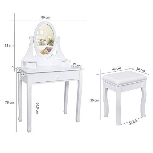 Songmics® Schminktisch Frisierkommode Frisiertisch Kosmetiktisch mit Spiegel inkl. Hocker, weiß, Holz, RDT002 - 14