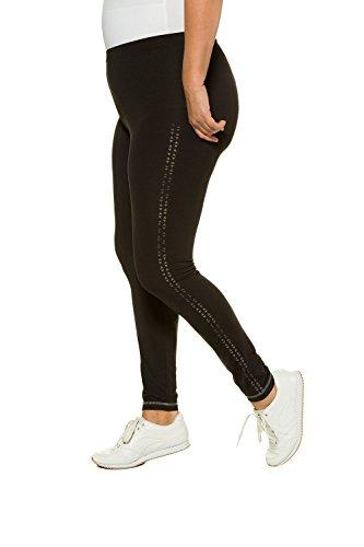 Ulla Popken Femme Grandes tailles | Femmes Leggings Pantalon de Sport Imprimé Motif Fashion Pantalon Streche Collant Taille Haute Yoga Gym Fitness | 714696 Noir