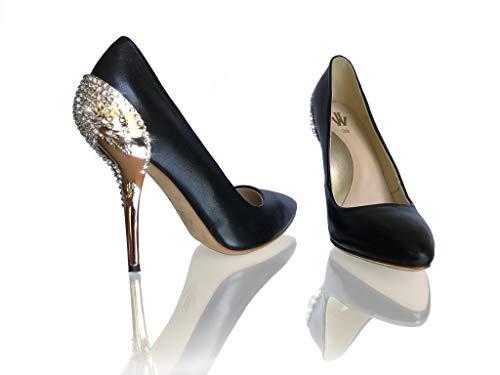 c6c9068033e WH Waldemar Halle Crystal Rose Pumps Hohe Elegante Schwarze Damen  Absatzschuhe, Schuhe High Heels mit Rosegold Hochglanz Absatz Black Diamond  ...
