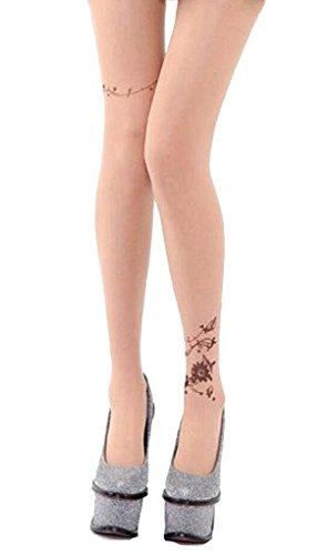 Demarkt Damen Gemustert Strumpfhosen Muster Strümpfe Strumpfhose Damen Strumpfhose Blumen Strümpfe Tattoo One Size (One Size, Blumen S)
