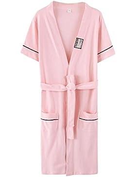 Bearony Suave Albornoz de Pijamas de algodón de Manga Corta de Verano de Pareja de Moda Albornoz (Color : Pink...