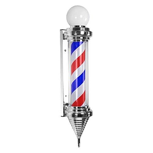 Led Barber Pole Light, cartel de salón de peluquería iluminado y al aire libre, clásico al aire libre Rayas grandes, blancas, negras y resistentes al agua, salón de peluquería, letrero de la tienda