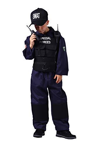Swat-Kostüm-Kinder | Polizei-Kostüm 4tlg.| Kinderkostüm-Spezialeinheit für Karneval und -