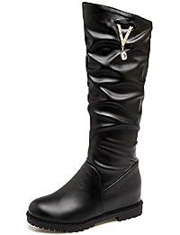 973f527e5bbb15 KUKIE Best 4U® Damen Schuhe PU Herbst Winter Komfort Stiefel Flacher Absatz  Runde Zehe Strass Für Weiß…