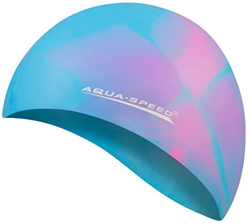 Aqua Speed® Set - BUNT Badekappe + Kleines Mikrofaser Handtuch | Silikon | Bademütze | Badehaube | Schwimmhaube | Erwachsene | Damen | Herren | Kinder, Kappen Designs:42. Bunt / 36