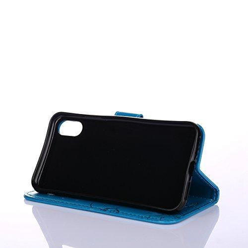 EUWLY Custodia In Pelle Per iPhone X, Retro Fiore farfalla Modello Design Cover Wallet Case Custodia In Pelle Portafoglio Lusso Libro Flip Cover Protettiva Con Cinturino Con Con Cinturino da Polso Sup farfalla,Blu