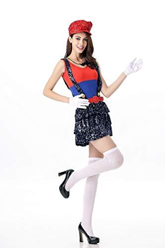 Mario kostüm Kinder,Super Mario Halloween,Cosplay-Spiel-Uniform der Frauen Der Pailletten -Party-Partei-Kostüm-Thema-Maskerade-Accessoires,Red ()