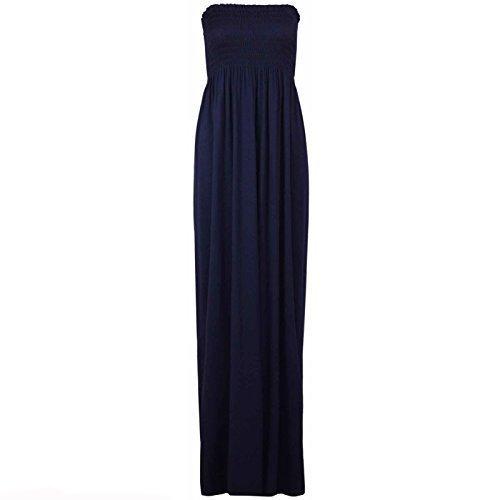 Neuf Pour Femmes Sans Manches Bandeau Bandeau Maxi femmes Fin Long robe RU 8-26 Bleu Marine