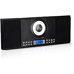 Auna Wallie Microsystème • système stéréo • microsystème • 2X Enceintes stéréo 10W RMS • Lecteur CD • Tuner FM • Bluetooth • Port USB • écran LCD • Noir