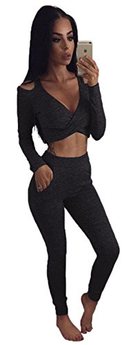 ALAIX Damen Zweiteilig Jumpsuit Longärmelig Bodycon Top+Stretch Hose Schwarz-L (Leopard Stretch-satin)