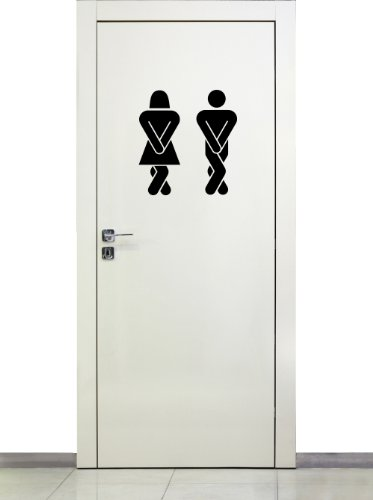 Türaufkleber fürs WC / Wandtattoo selbstklebende Beschriftung für Türen ~ Toilettenmännchen, Damen, Herren ~ 68118-14×15 cm Wandaufkleber Wandtatoos Sticker Aufkleber für die Wand,