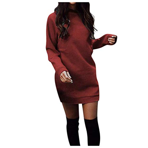 Wtouhe Robe à Tricoter Femme 2019 avec Col Rond Tunique en Vrac Manches Longues Pullover Couleur Unie Sweater DéContracté Chic Chemise Pas Cher Mode Ample Automne Hiver Tops