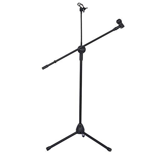 niceEshop(TM) Musik Mikrofon Stand Justieren Halter und Teleskopischen Boom mit Handy für Stadium Oder Studio, Bequem, Portable und Justierbarer Mic Standplatz
