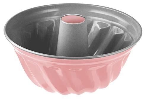 Zenker Gugelhupfform 22 cm Candy, traditionelle Backform für köstlichen Gugelhupf, Backform mit Antihaftbeschichtung (Farbe: silber/rosa), Menge: 1 Stück