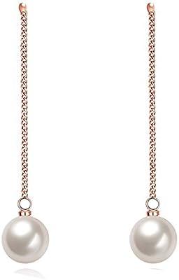 yeahjoy Bling joyería de las mujeres chapado en oro rosa perla de imitación pendientes de gota largos